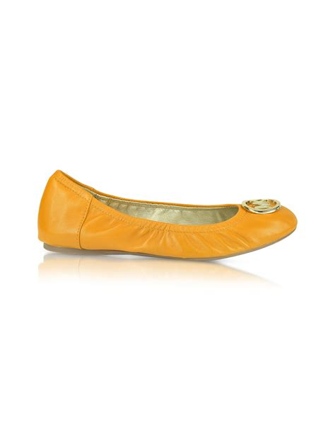 flat yellow shoes michael kors fulton ballet flat shoes in yellow lyst