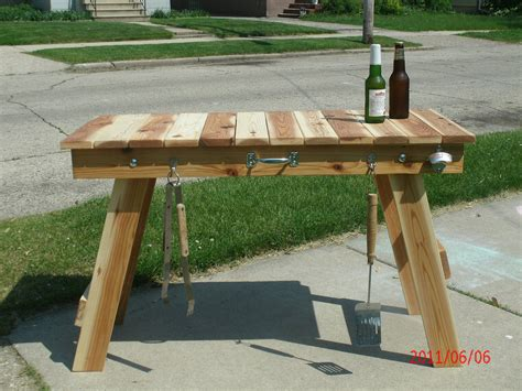 Solid Wood Kitchen Island Cart grilling table great for camping tailgating or barbecuing