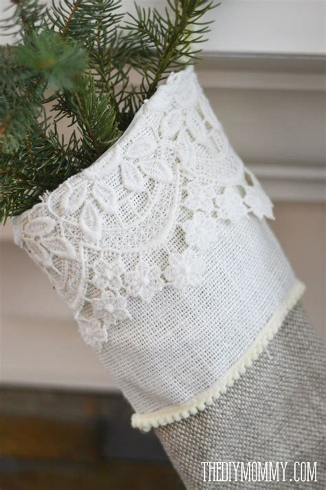 Pattern For Burlap Christmas Stockings | sew linen burlap christmas stockings anthropologie