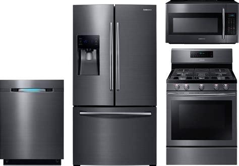 samsung appliances samsung 4 kitchen package with nx58j5600sg gas range rf263beaesg refrigerator