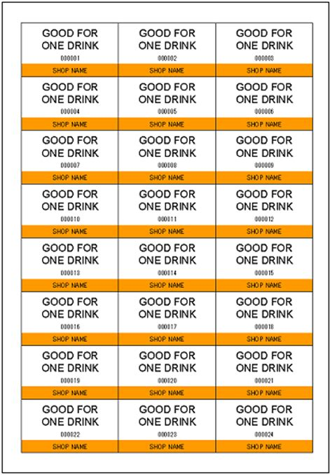 complimentary drink ticket template gallery of free complimentary drink ticket bar special