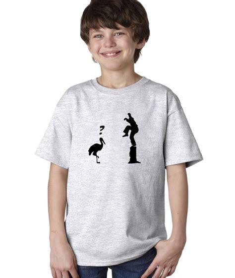 Boy Up T Shirt boys childrens crane kick pose master karate kid