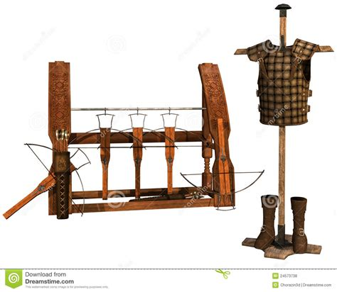 Armor Rack by Weapon Rack And Leather Armor Royalty Free Stock