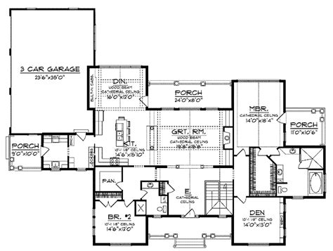 vaulted ceiling house plans cathedral ceiling and exposed wood beams hwbdo13342