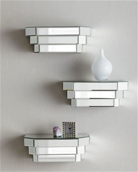 mirrored step shelf modern display and wall shelves
