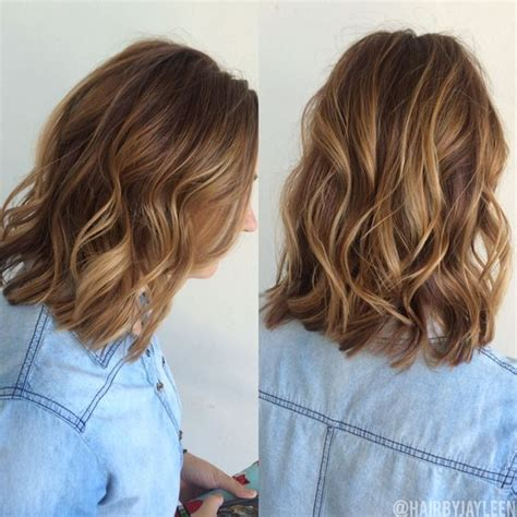sombre short hairstyles warm blonde highlights warm blonde and brown balayage on