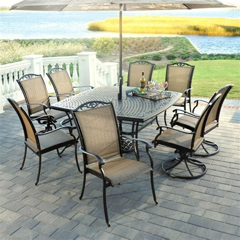 patio furniture set 9 roma aluminum patio dining set by agio select
