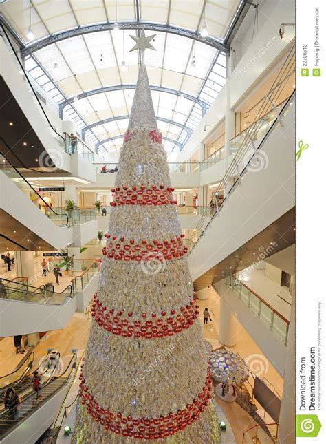 christmas tree in shopping mall editorial stock photo