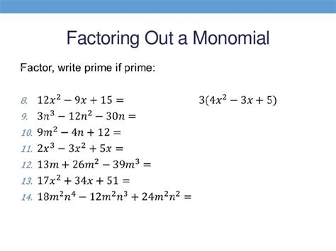 factoring the greatest common monomial factor