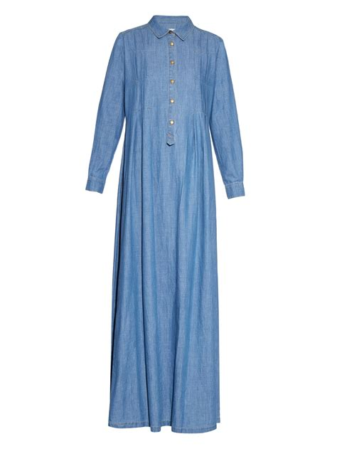 Denima Maxy Dress lyst the great the shirt gown denim maxi dress in blue