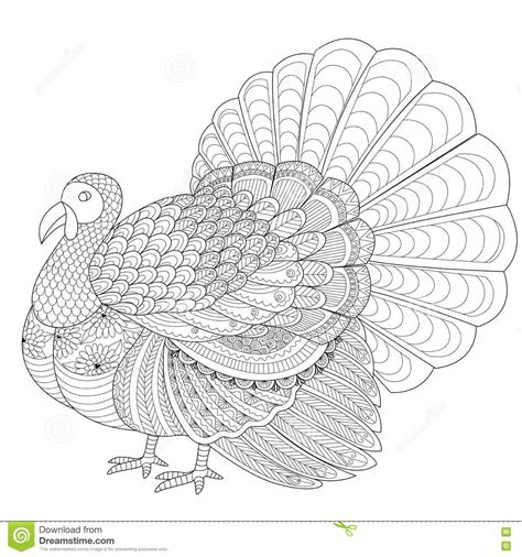 zentangle turkey coloring page detailed zentangle turkey for coloring page for adult
