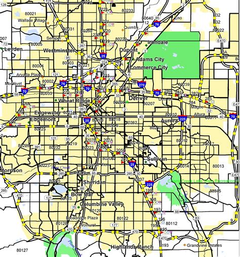map of denver area basic service area map