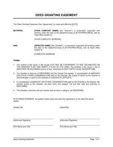 easement agreement template deed granting easement template sle form biztree