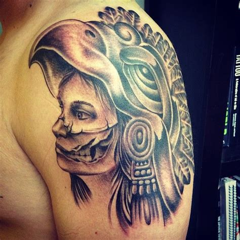 aztec girl tattoo designs aztec skull on shoulder for tattooshunt