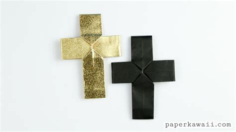 How To Make A Origami Cross - easy origami cross tutorial paper kawaii