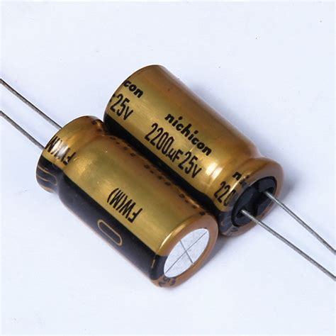 kapasitor nichicon 10pcs nichicon fw 2200uf 25v 2200uf 25v audio electrolytic capacitor hi fi in capacitors from