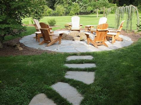 off backyard natural flagstone patio fire pit patio flag stone and