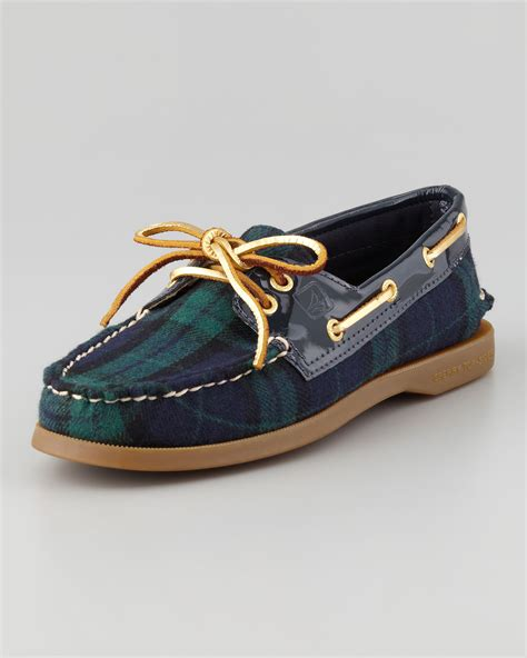 Preppy Urban Style - sperry top sider authentic original plaid boat shoe navygreen in blue lyst