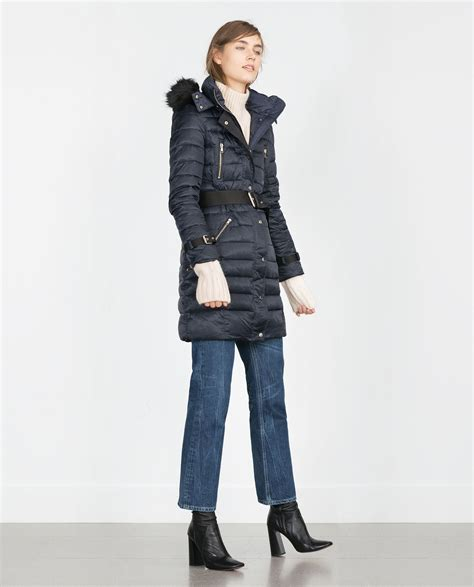 Zara Quilted Coat With by Zara Quilted Coat With Detachable In Black Blue