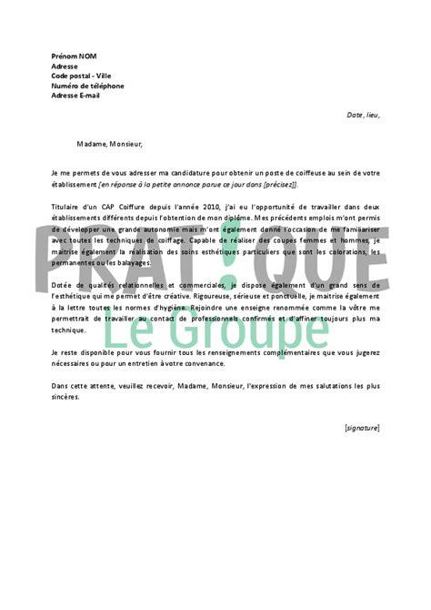 Exemple De Lettre De Motivation Pour Un Poste D Infirmière Lettre De Motivation Pour Un Poste De Coiffeuse Pratique Fr