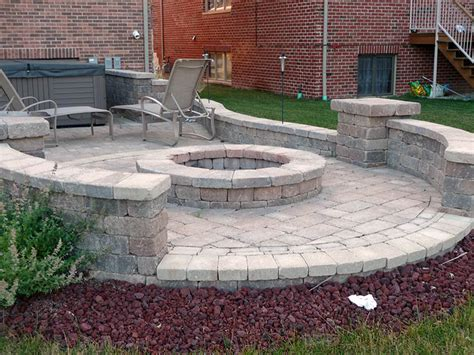 Paver Patio Designs With Pit Simple Backyard Paver Fire Pit The Latest Home Decor Ideas