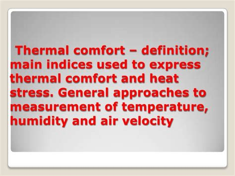 Comforting Definition by Thermal Comfort Factors Images