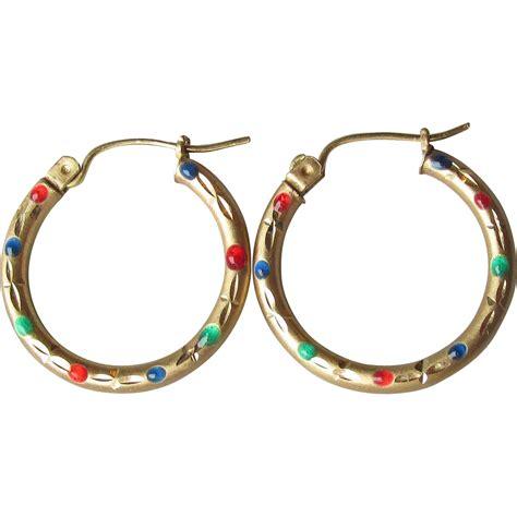 Hoop Earrings With vintage 10k gold enamel hoop earrings sold on ruby