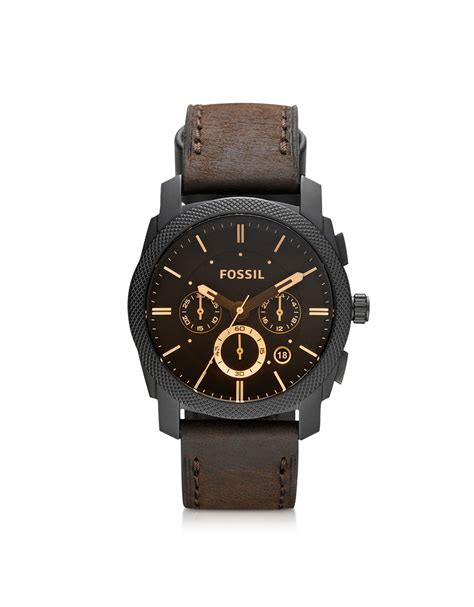 Leather Fossil lyst fossil machine mid size chronograph brown leather