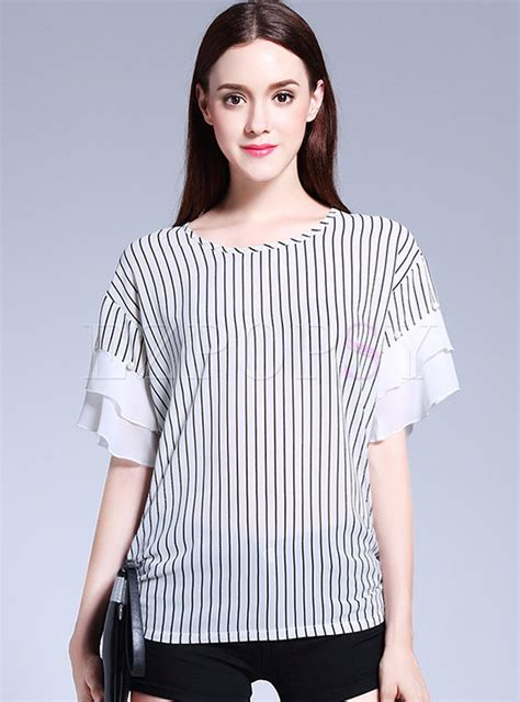 Striped Sleeve Chiffon Blouse tops blouses stripe chiffon stitching sleeve blouse