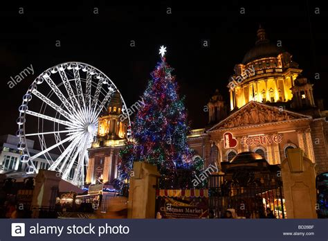 christmas tree and christmas lights at belfast city hall