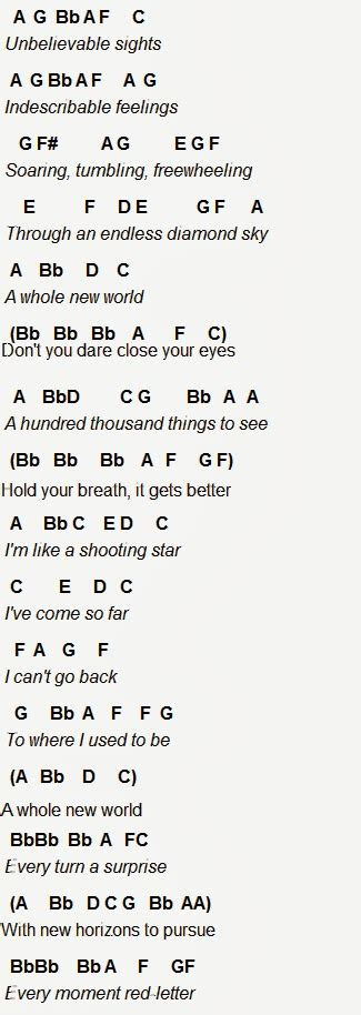 Letter New Song Flute Sheet A Whole New World