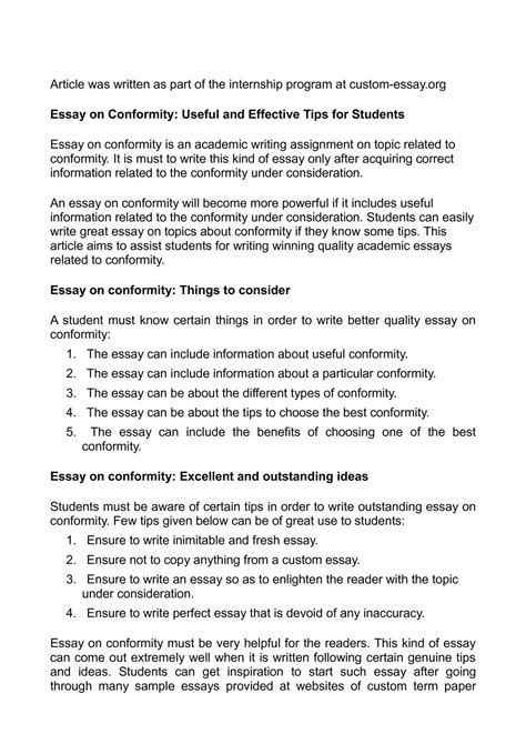 Conformity Essays by Calam 233 O Essay On Conformity Useful And Effective Tips For Students