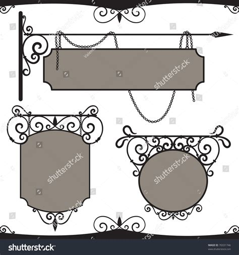 Vintage Wrought Iron Signs Three Vector Stock Vector 70331746 Shutterstock Free Sign Design Templates