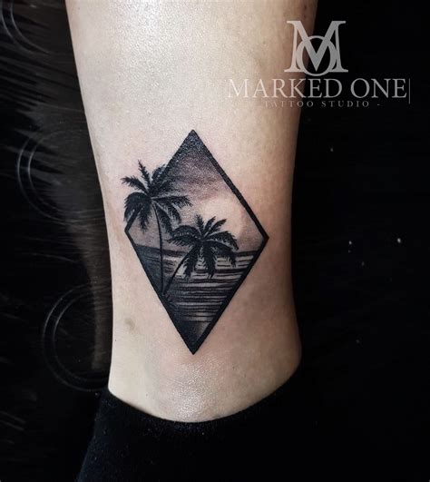 small palm tree tattoo tropical mini scenery girly ankle