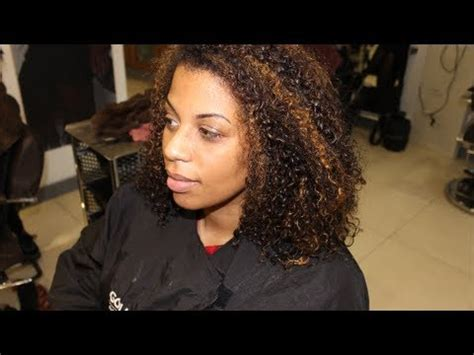blonde highlights on african american natural hair salon work full head of highlights on natural hair youtube