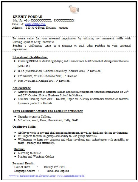 Cv Format Doc For Mba Freshers 100 resume format for experienced sle template of a
