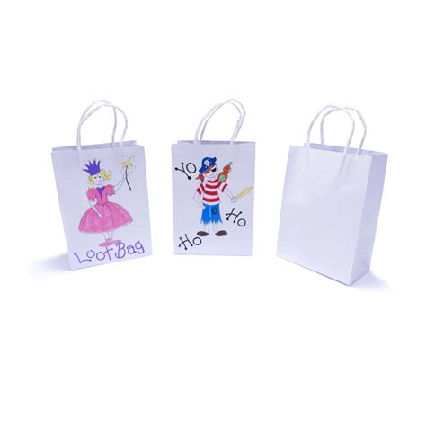 White Paper Craft Bags - free 12 pack white paper gift bags