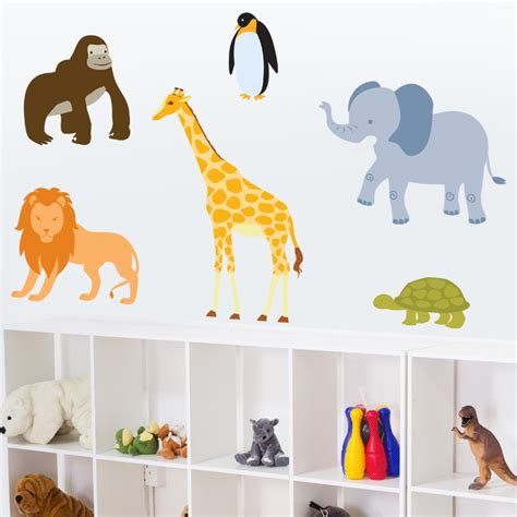 wall stickers animals zoo animals set of 6 printed wall decals stickers graphics