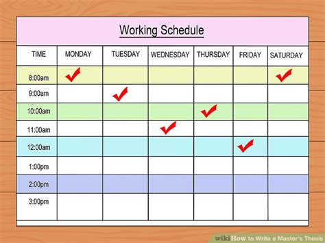 thesis schedule template how to write a master s thesis with pictures wikihow