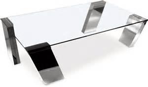 table basse rectangle en verre transparent inox brillant