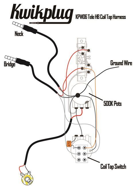 kwikplug tele  humbucker coil tap wiring harness pre