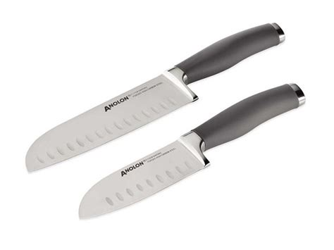 anolon kitchen knives anolon cutlery 2 pc santoku set gray