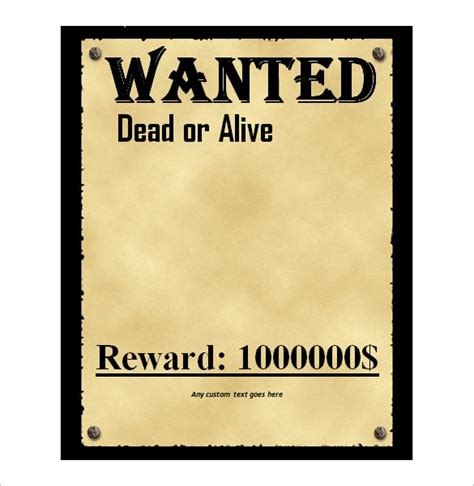 4 Free Wanted Poster Templates Excel Pdf Formats Wanted Poster Template Microsoft Word