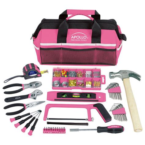 Small Tool Kit Home Depot Apollo Household Tool Kit In Soft Sided Tool Bag Pink