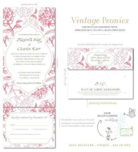 Wedding Invitations All In One by All In One Wedding Invitations On Seeded Paper Vintage