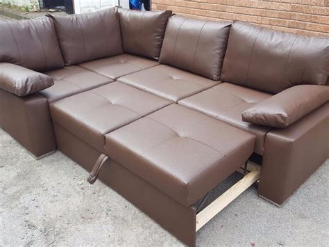 olympus brown leather corner sofa bed with storage brand new brown leather corner sofa bed with storage can