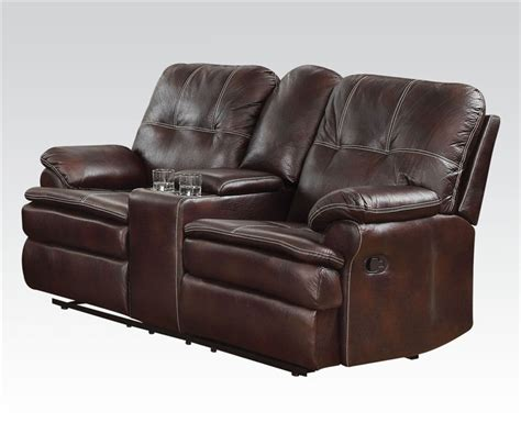 motion loveseat with console zamora brown microfiber motion loveseat with console