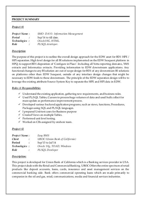 ideas collection sample resume for oracle pl sql developer fresher