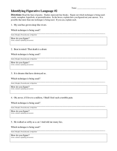 Free Figurative Language Worksheets by Figurative Language Worksheet 2