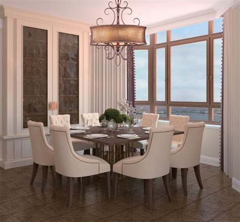 Drum Dining Room Light Glamorous Drum Shimmer Shaded Bronze Scroll Chandelier Contemporary Dining Room